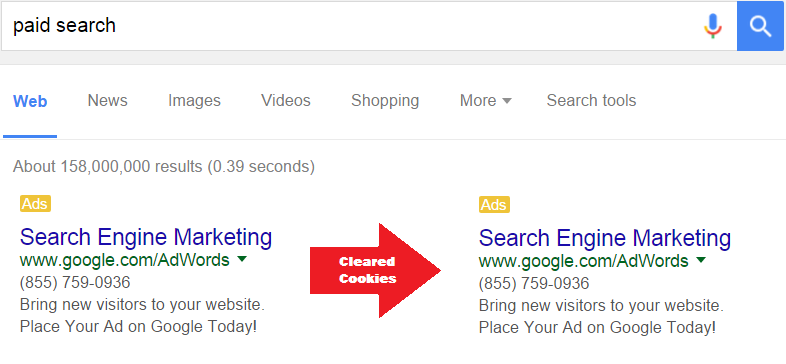 paid search search cookies cleared