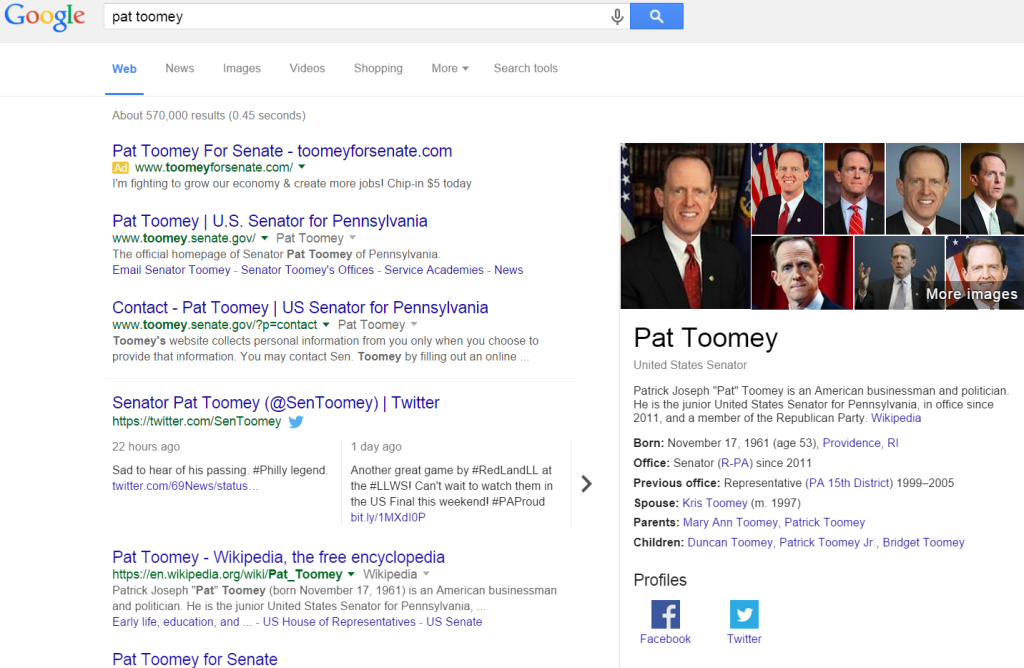 Senator Pat Tooney using branded ads in the search results