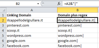 Prepping linking domains in Excel for input into GA