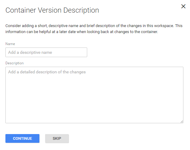 Google Tag Manager Name Version