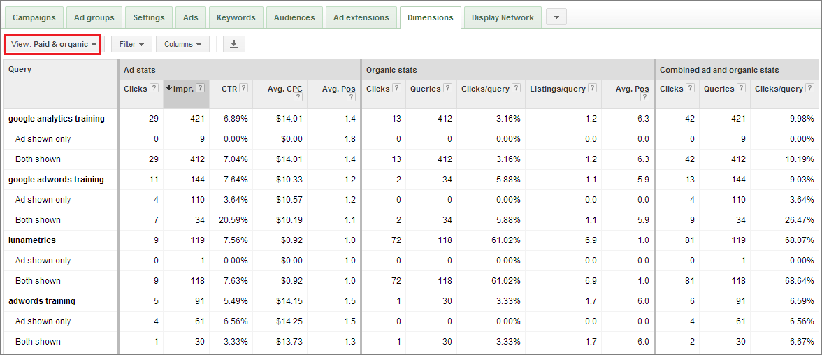 Example of Google AdWords Paid & Organic Report