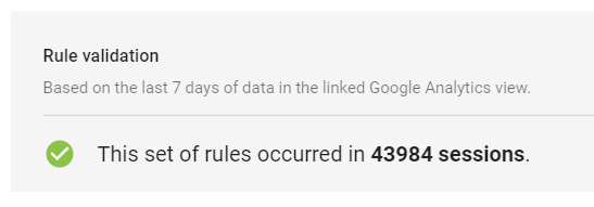 Rule Validation in Google Optimize