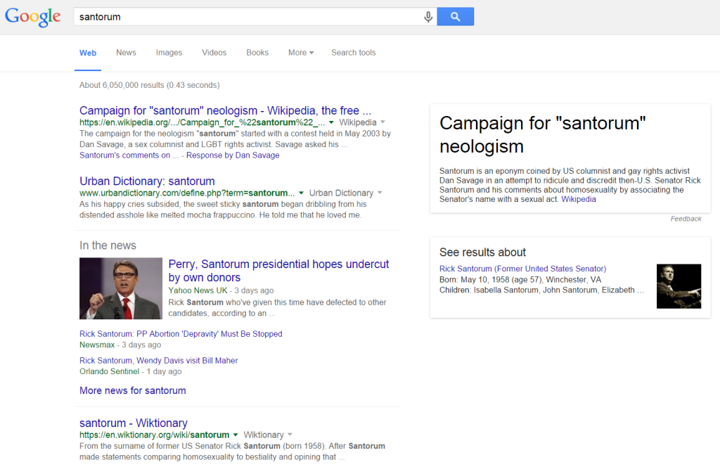 Google search results for Santorum