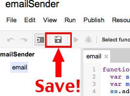Save Google Apps script