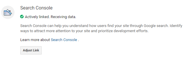 Google Analytics Search Console Linked