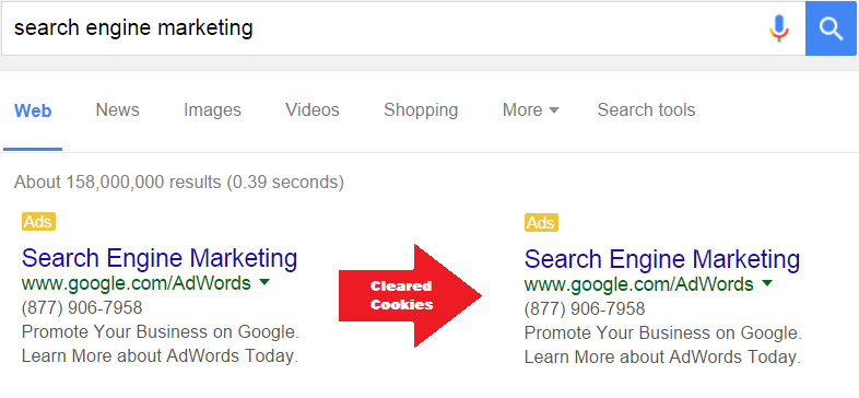 search engine marketing cookies cleared
