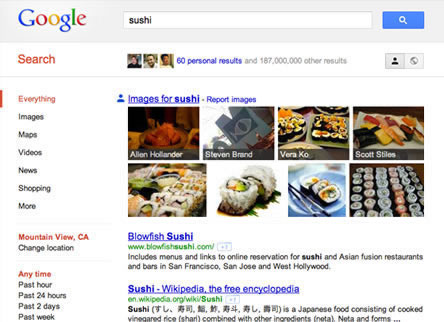 Search plus Your World screenshot - personal results