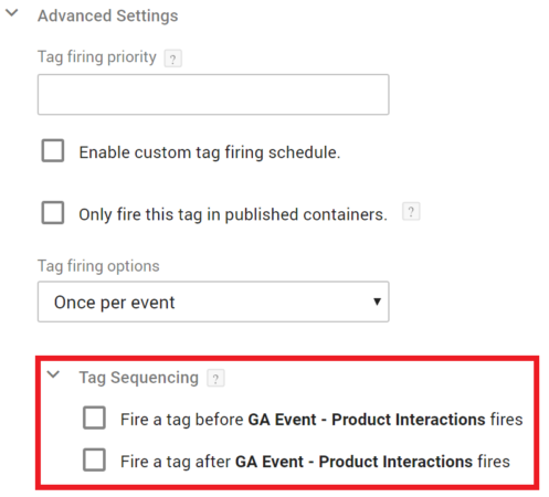 GTM tag sequence configuration tab