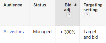 target and bid remarketing list for search ads