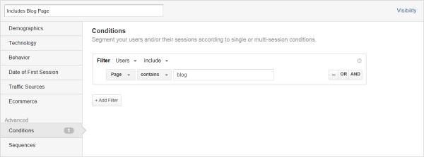Custom segment for blog users