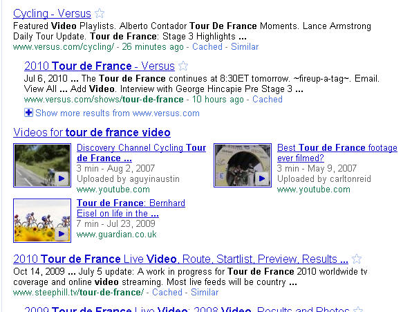 "Search results for ""Tour de France video"" showing video results"