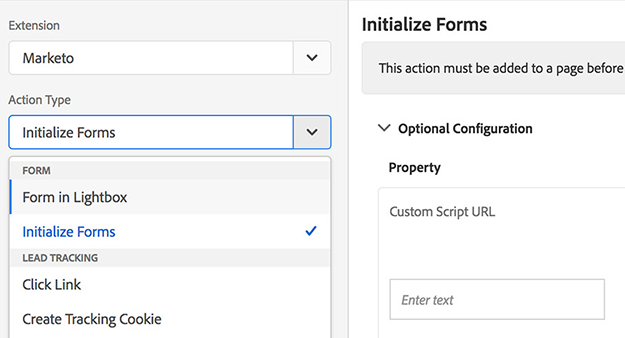 initialize forms marketo adobe launch extension
