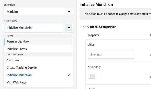 marketing initialize action adobe launch extension