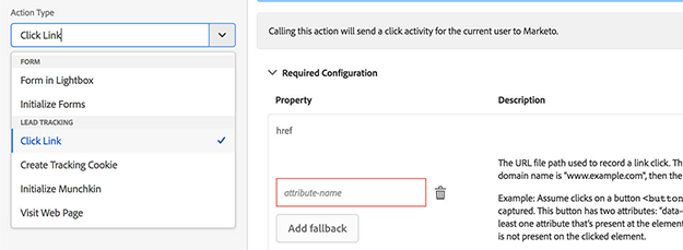 track click activities marketo adobe launch extension