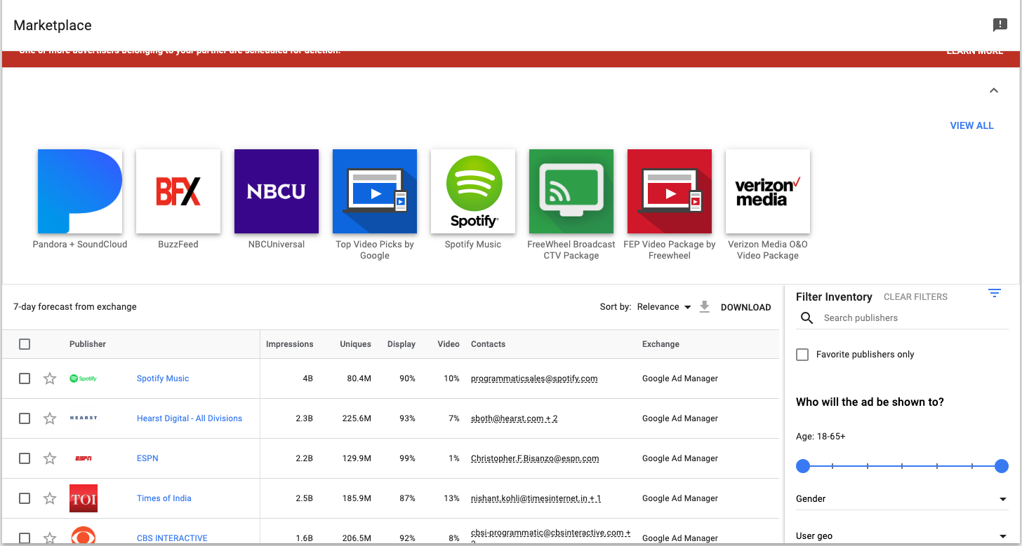 screen grab of the DV360 Marketplace Module