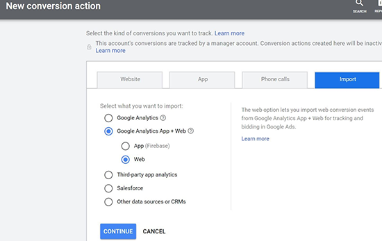 screen grab of new conversion action menu where you can select what data you want to import