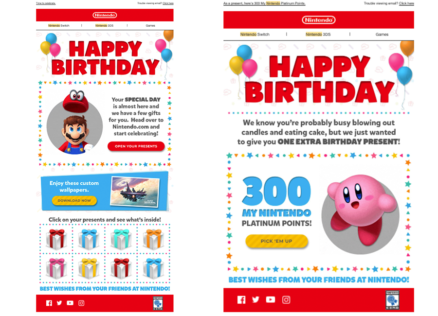 Example of happy birthday emails from Nintendo