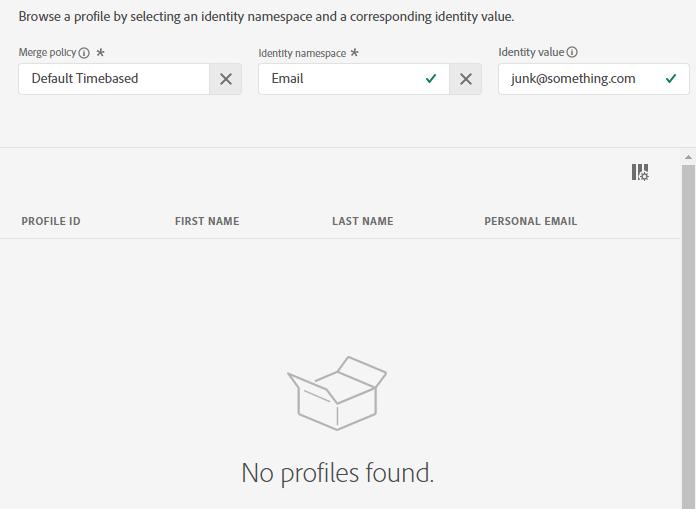Nessun profilo trovato dopo aver provato a cercare il profilo con le informazioni eliminate