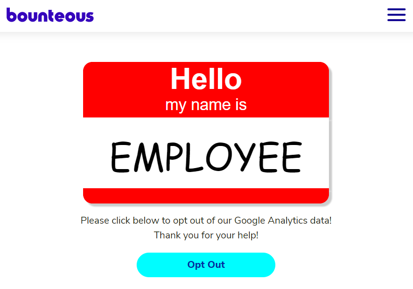 employee opt out page for google analytics
