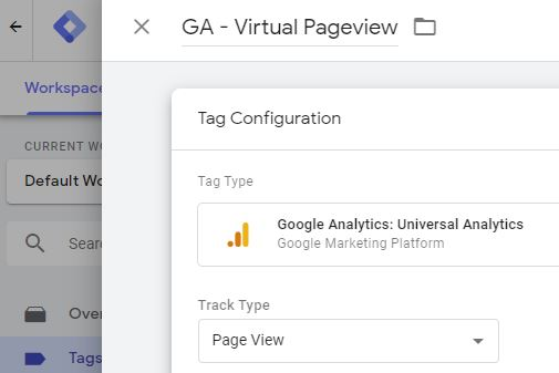 screenshot of track type page view preselected in google tag manager
