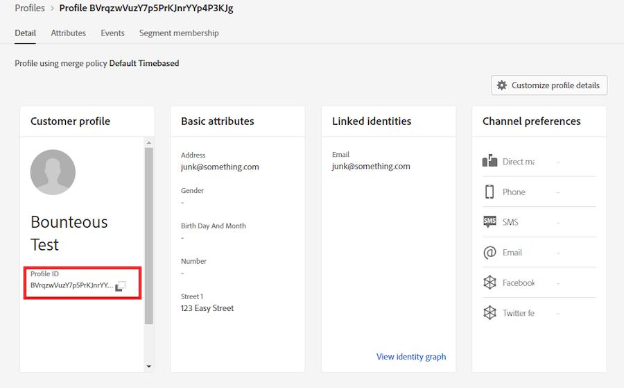 Profilo cliente AEP con ID profilo evidenziato