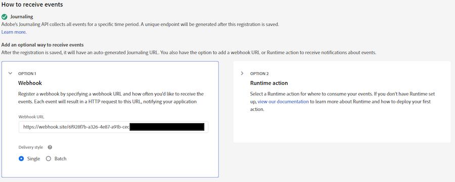 Come ricevere eventi con l'opzione 1 webhook selezionata