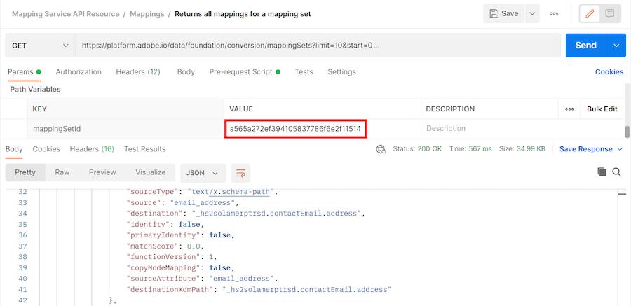 valore mostrato nella restituzione di tutte le mappature per un set di mappature per ID set di mappature