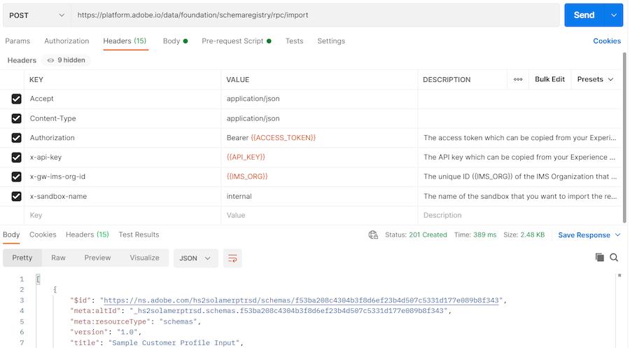 corpo dell'endpoint di importazione con la copia del JSON e incollato dentro