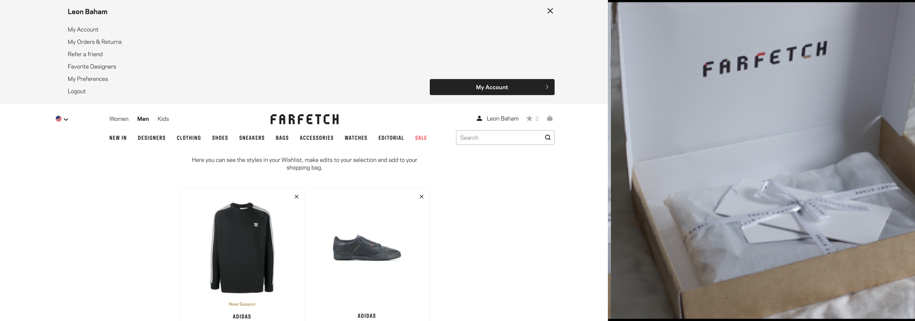 screenshot of FarFetch personalized experience