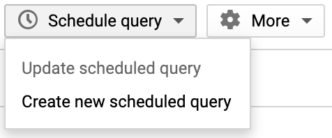 screenshot of Schedule Query Option