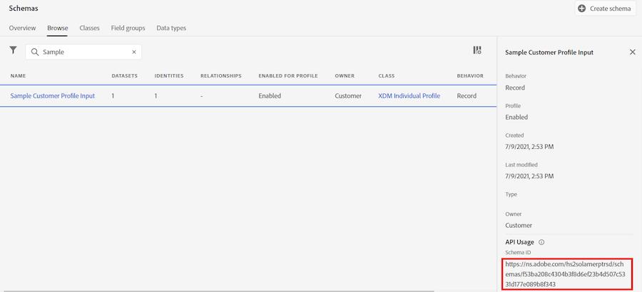 dashboard dello schema con l'ID dello schema mostrato molto in basso sotto Utilizzo API