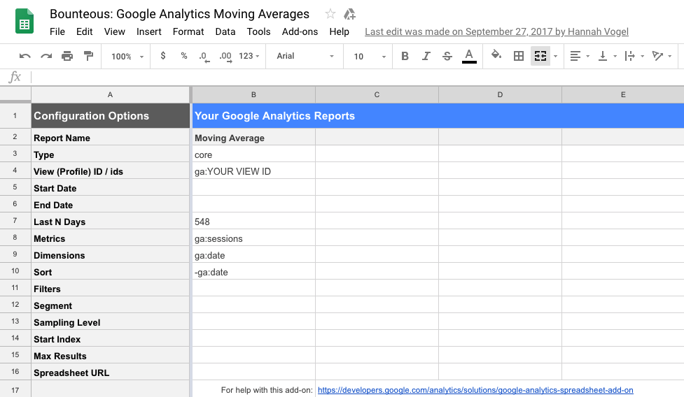 screenshot of Google Analytics moving averages work sheet
