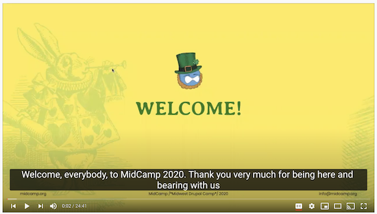 screen grab of midcamp welcome presentation on YouTube using captions in SRT format to provide the correct language