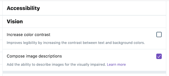 screenshot of Twitter Accessibility Settings