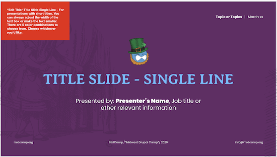 image of the first slide of the MidCamp Presentation Template