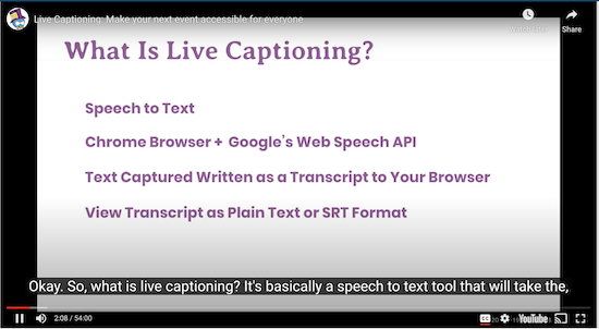 screen grab of slide from a midcamp presentation using live captioning