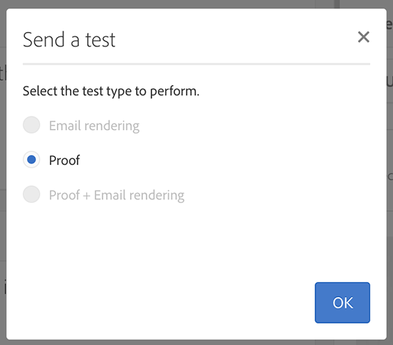 The Send a Test window