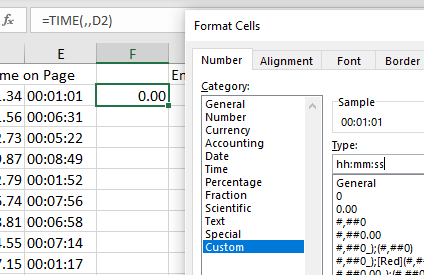 screen grab using solution 2 in excel