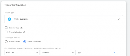 image of trigger configuration in google tag manager