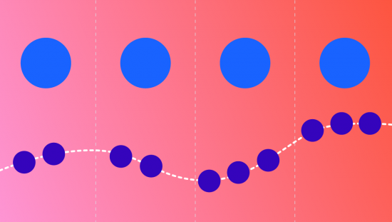 image of four large spaced out circles with dotted lines in between, below that there are 10 smaller circles connected with a dotted line