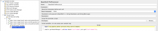 screen grab of adding the BeanShell PreProcessor