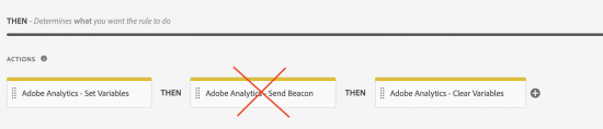 image illustrating that you do not need a send beacon action in your Launch rule
