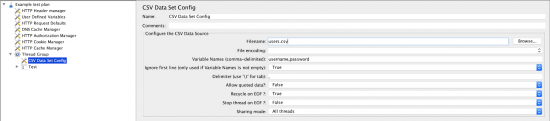 screen grab of adding the CSV Data Set Config