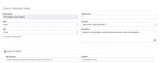 image showing Column Metadata Details in acquia lift