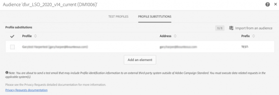 Adding Profile Substitutions to the Test Profiles window