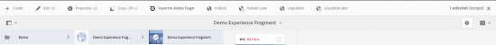 AEM's UI to export Experience Fragments to Adobe Target
