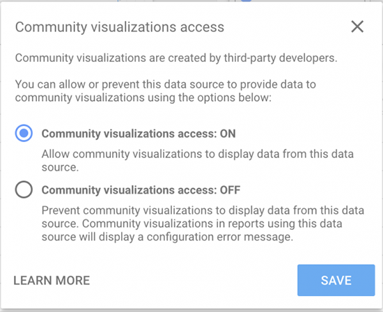 image showing how to turn you Community Visualization Access on