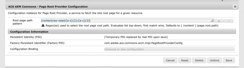 screen shot of how to configure a page root provider
