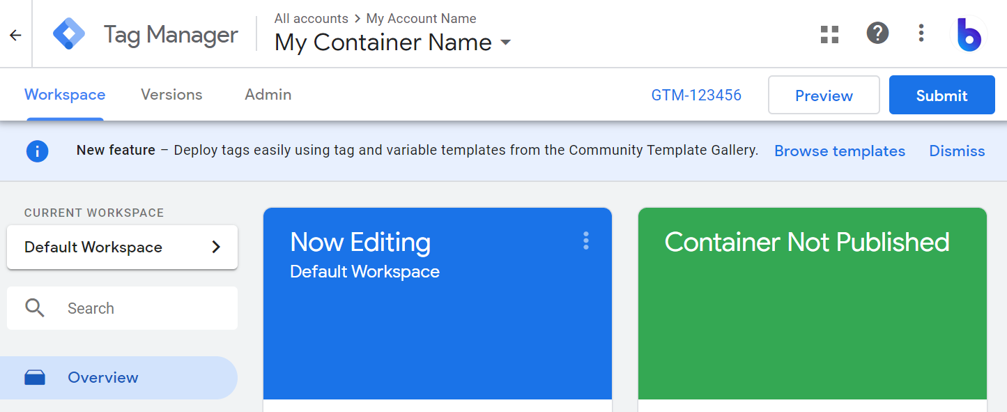 google tag manager custom template gallery banner