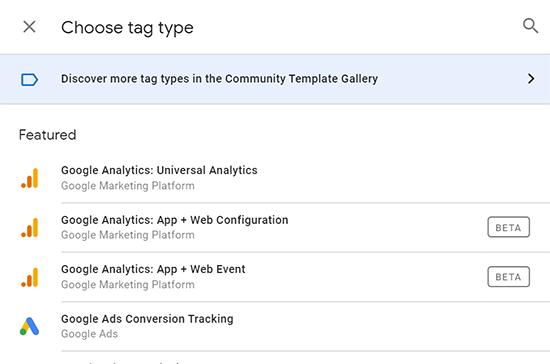 image showing how to discover More Tag Types in the Google Tag Manager Community Template Gallery